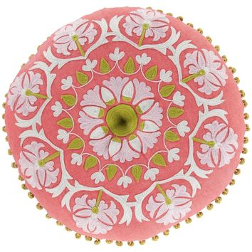 Surya Decorative Pillow - Suzani Round Hot Pink 16x16