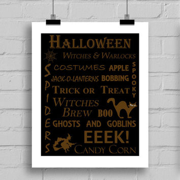 Halloween Word Art Print - Halloween Themes Printable Holiday Home Decor Wall Art (JPG/PDF) 8x10