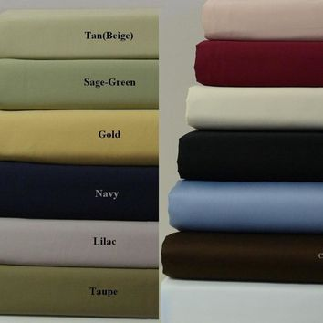 California King BLUSH 300 Thread count Unattached Waterbed Solid Sheet Sets 100% Combed cotton