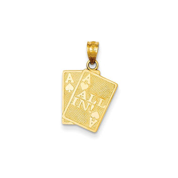 14k Yellow Gold Ace of Hearts & Ace of Spade All In! Cards Pendant