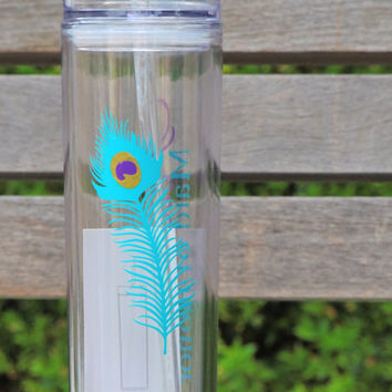 Peacock style tumbler, peacock feather vinyl, acrylic cup, skinny tumbler, wedding party favor, bachelorette party gift, bridesmaid gift
