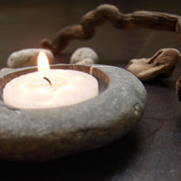 home decor  hand engraved beach stone candle holder by Mihulli