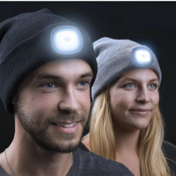 UNISEX LED Beanie Cap Rechargable Forehead Lamp