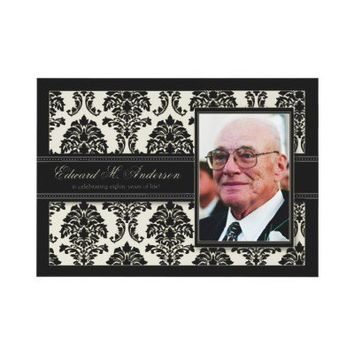 Golden Years Damask Birthday Party Invite (black) from Zazzle.com