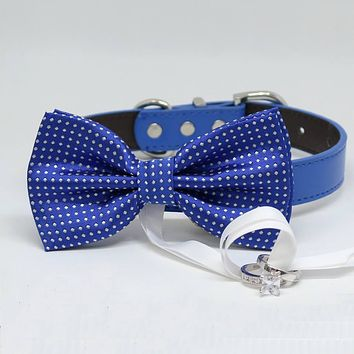 Royal Blue Dog Bow Tie ring bearer, Pet Wedding accessory, Marry Me, Proposal idea, Chic
