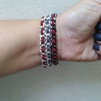 Single weave bracelet in burgundy (available in gold, silver and gunmetal)