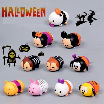 Halloween series--10pcs/lot Tsum Tsum Mini Mickey Dumbo PVC tsum Action&Toy Figures Stacked Layer Collection Toy For Gift
