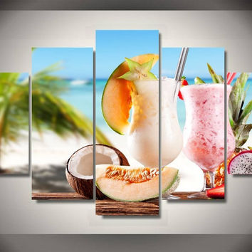 Tropical Drinks 5-Piece Wall Art Canvas