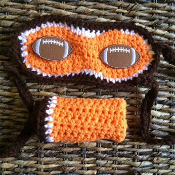 Crochet Cleveland Browns Football Theme Sleep Nap Eye Mask and Hand Wash Rag Gift Set