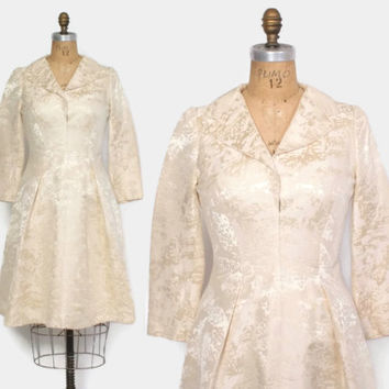 Vintage 60s Brocade DRESS / 1960s Pauline Trigere Long Sleeve Mod Wedding Dress M