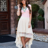 Gypsy High Low Skirt Cream