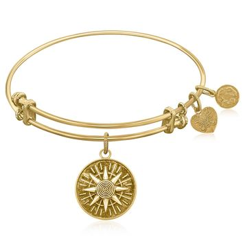 Expandable Bangle in Yellow Tone Brass with Compass Personal Direction Symbol