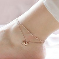 Ladies Jewelry Shiny Sexy New Arrival Cute Gift Stylish Double-layered Tassels Titanium Anklet [6768777735]