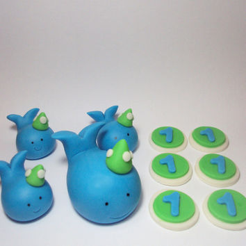 Party Hat Whales Birthday Set - Cupcake and Cake Toppers