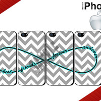 Best Friends Forever and Ever iPhone Cases - iPhone 4 Case or iPhone 5 Case - Infinity - Chevron iPhone Case - Four Case Set