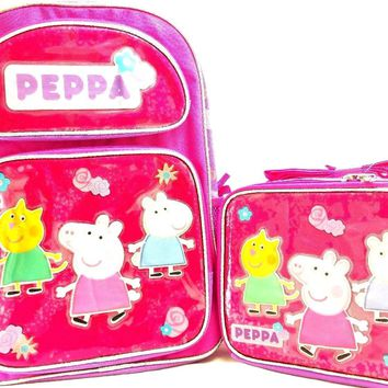"Entertainment One Peppa Pig Girls 16"" Canvas Pink School Backpack w/Lunch Bag"