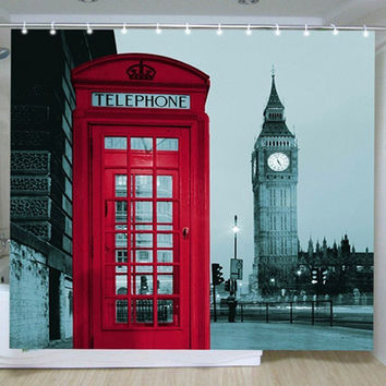 Famous City Landmark Pattern curtains London Big Ben Polyester Shower Curtain - *FREE SHIPPING*
