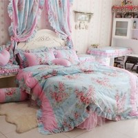 FADFAY Home Textile,Romantic Rose Print Bedding Sets,Blue Pink Bedding Sets,Princess Lace Ruffle Bedding Set,Twin/Full/Queen/King Bedroom Set,4Pcs Bed Set (Blue, 4.5ft bed)