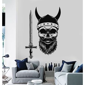 Vinyl Wall Decal Skull Scandinavian Horror Warrior Helmet Skeleton Stickers Mural (g719)