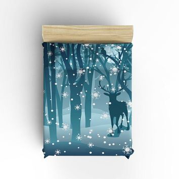 King Size Bedding Set- Snow Tree Deer Forest Duvet Cover Set Bedspread for Children/Kids/Teens/Adults, 4 Piece