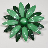 Vintage Enamel Flower Pin Brooch Two Toned Green Flower Pin Great Condition Green Daisy Pin Mid Century Pin Brooch Green Pin