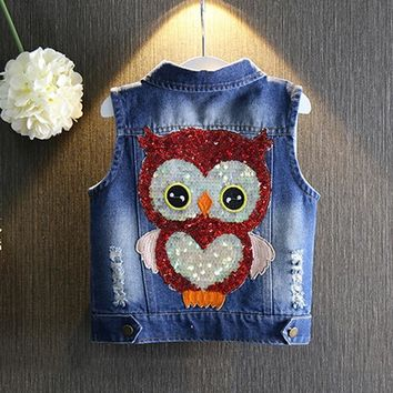 1-7yrs Baby Girls Denim Vest Casual Sleeveless Jacket New 2017 Waistcoat Spring Summer Jean Vest Sequin Owl Button Girls Clothes