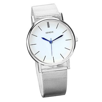 Wrist Watches For Women Men Watch 2017 Simple Geneve Women's Fashion Casual Watch Stainless Steel Band Quartz Wrist Watches