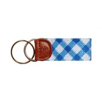 Blue Gingam Needlepoint Key Fob in Blue by Smathers & Branson