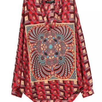 Summer Vintage Print V-neck Long Sleeve Shirt [5013237636]
