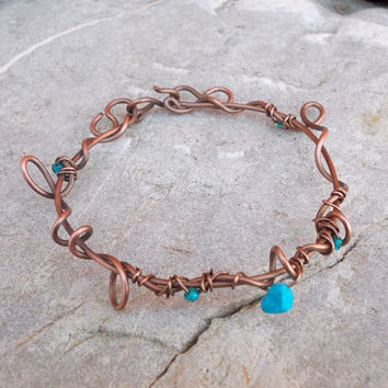 Turquoise bracelet FREE SHIPPING WORLDWIDE Charm Boho Fashion Copper  Wire Wrapped  Jewelry Copper handmade antique, vintage  bohemian  boho