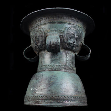 "Bronze 'Rain' Drum Handcast Indonesian Bronze 8"" Dong Son Moon Peijing Drum Asian Oriental Art Primitive Culture Collectible Home Decor"