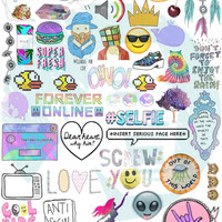 Set #44. Tumblr Stickers. Stickers. Set of stickers. Decals