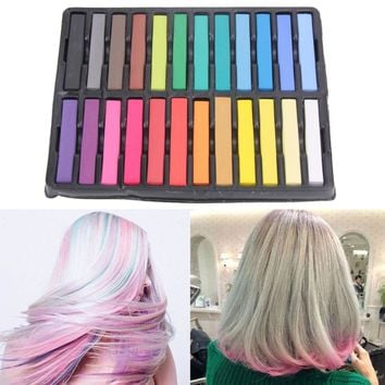 24 Colors Hair Dye Colorful Chalk Temporary Hair Color Salon Hairstyle Hairdressing Dye Crayons DIY Hair Design Makeup Chalks