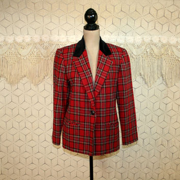 Red Plaid Blazer Jacket Black Velvet Collar Womens Medium Wool Blend Scottish Tartan Red Plaid Jacket Sag Harbor Womens Vintage Clothing