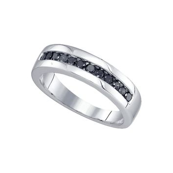 Sterling Silver Mens Round Black Colored Diamond Wedding Band Ring 1/2 Cttw