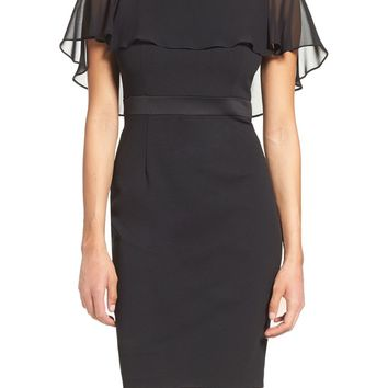 Adrianna Papell Chiffon Capelet Sheath Dress | Nordstrom