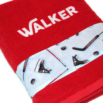Ice Hockey Bath Towel, Custom, Personalized, Embroidered, Terry Cloth, Baby, Sports Towel, Boy Gift, Groomsmen, Ring Bearer, Housewarming