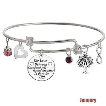 AUGUAU TISDA The Love between Grandmother and Granddaughter is Forever Bracelet Family Jewelry Christmas Gift
