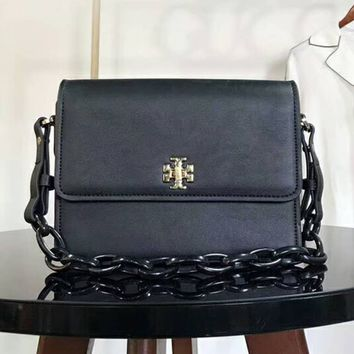Tory Burch Bag Black Chain With PU Straps Women Flag Print Shoulder Bag B-AGG-CZDL Black
