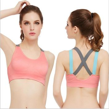 2017 Women's Yoga Bras Push Up Sports Bra Gym Fitness Top Solid Padded Bras Athletic Vest Running jogging Sportswear Underwear