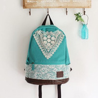 Mint Backpack With Lace by Charmaco on Etsy