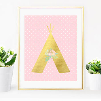 Gold Metallic, Teepee Print, Digital Print, Tribal Wall Art, Tribal Decor, Baby Print, Shabby Chic Print, Nursery Decor, Nursery Print, Gold