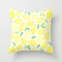 Summer Lemons Throw Pillow by Tangerine-Tane