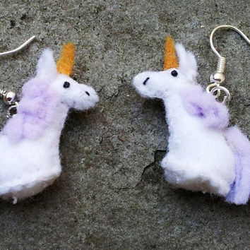 Tiny Unicorn Earrings -- miniature felt plush charms magical magic fairy tale fantasy harry potter