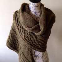 Celtic cabled shawl, blanket scarf, wool and alpaca shawl, cape poncho, winter fall wrap, Claire Fraser, Outlander wear, outlander knits