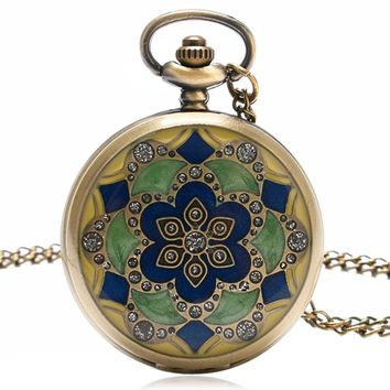 Free Shipping Women Gift Item Jade Crystal Case Quartz Pocket Watch Ladies Antique Fob Clock With Necklace Chain
