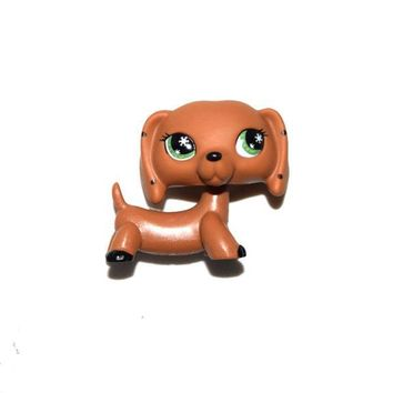Pet Shop Animal Puppy Green Eyes Dotted Ears Brown Dog Figure Child Toy