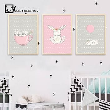 Cute Pink Rabbit Bunny Wall Art Canvas Posters Cartoon Animal Nursery Prints Nordic Painting Picture Baby Bedroom Decoration