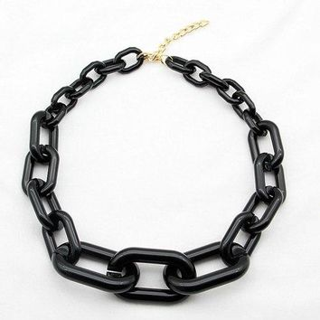 FishSheep Statement Acrylic Link Chain Necklace Female Rock Punk Resin Chunky Big Choker Pendants & Necklaces Fashion Jewelry