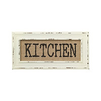 Vintage Bistro Burlap Printed Framed Wall Decor for Kitchen Dining Restaurant (KITCHEN)